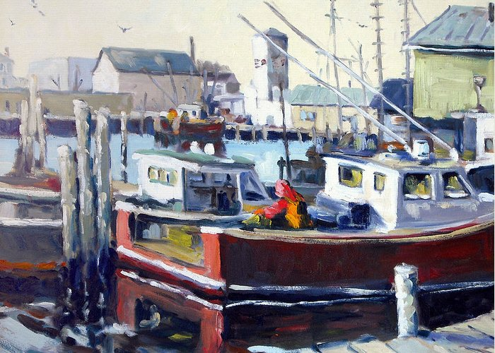 Gloucester Greeting Card featuring the painting Gloucester Harbor And The Birdseye Tower by Chris Coyne