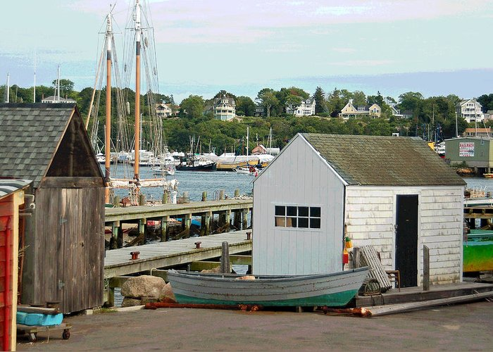 Gloucester Greeting Card featuring the photograph Gloucester Harbor Scene by Suzanne Gaff