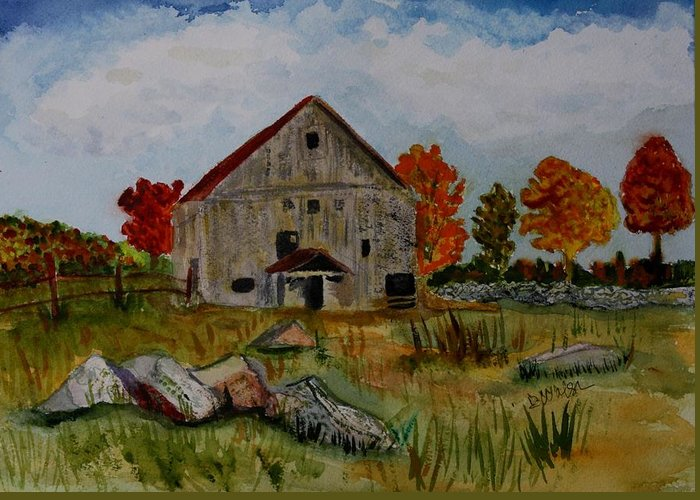 Glover Vt Greeting Card featuring the painting Glover Barn In Autumn by Donna Walsh