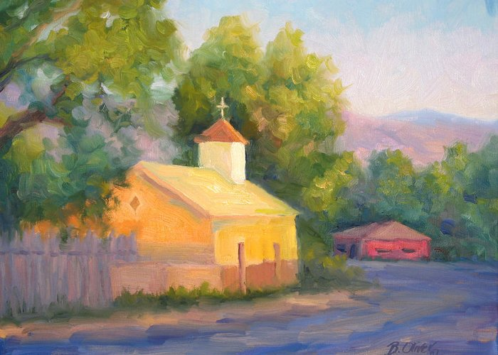 Landscape Greeting Card featuring the painting Glow At Vespers by Bunny Oliver