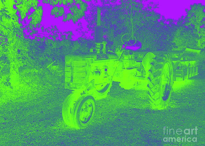 Tractor Greeting Card featuring the digital art Glow Of The Day by John Bichler