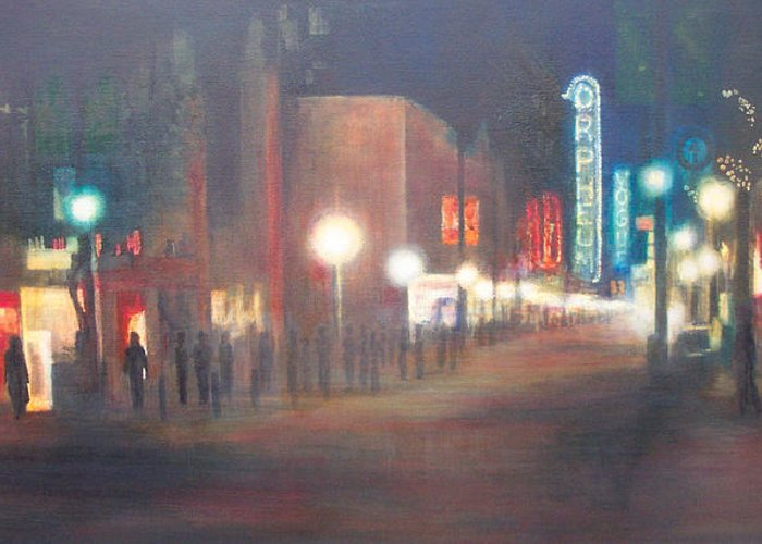 Downtown Greeting Card featuring the painting Glow by Victoria Heryet