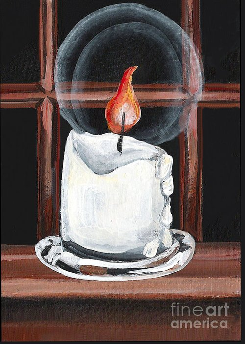 Candle Greeting Card featuring the painting Glowing Candle In Window by Elaine Hodges