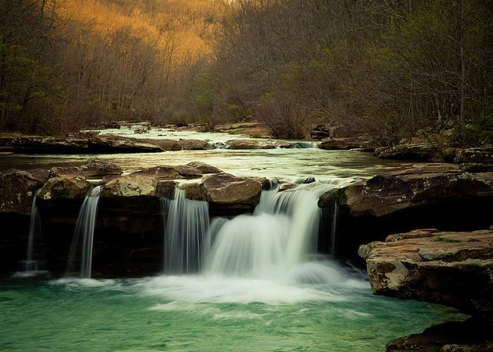 Trees Greeting Card featuring the photograph Glowing Waterfalls by Iris Greenwell