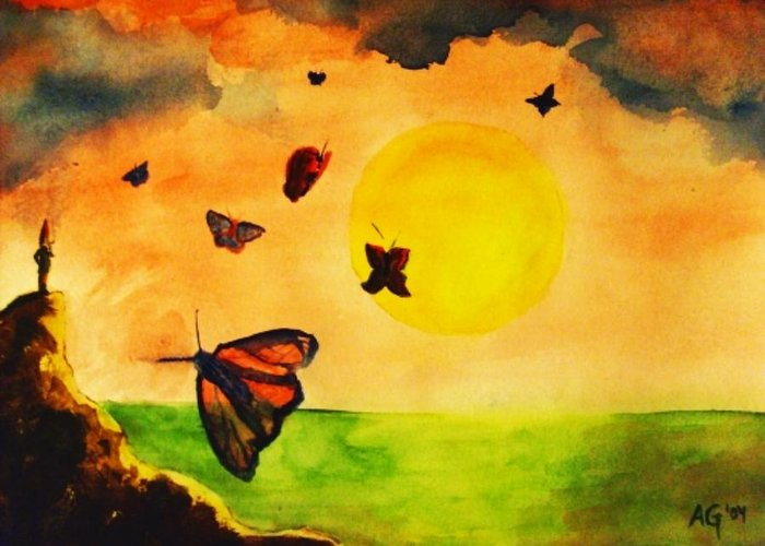 Gnome Greeting Card featuring the painting Gnome And Seven Butterflies by Andrew Gillette