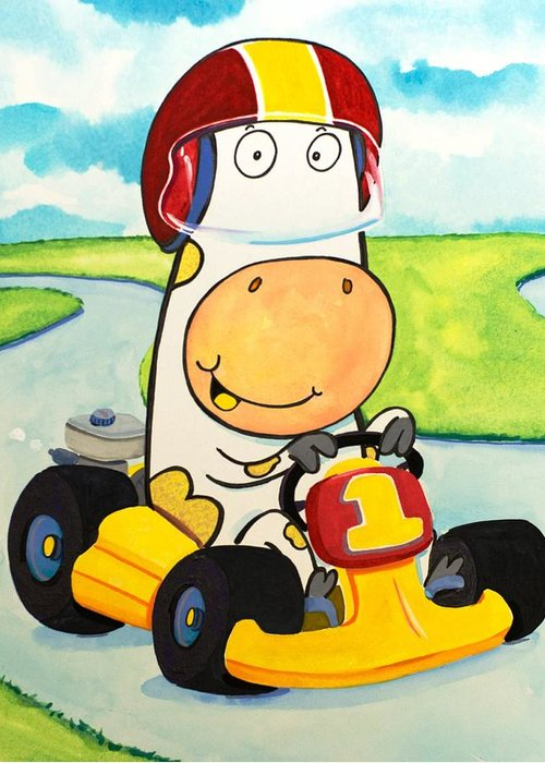 Cow Greeting Card featuring the painting Go Cart Cow by Scott Nelson