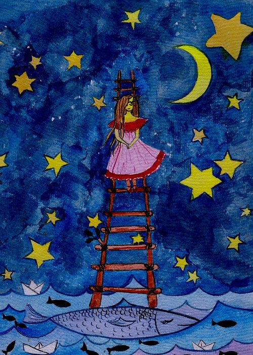 Sky Greeting Card featuring the painting Go Down by Sweeping Girl