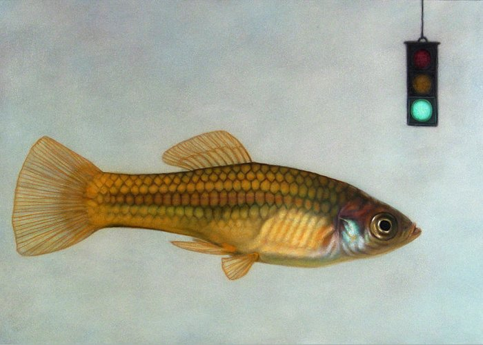 Fish Greeting Card featuring the painting Go Fish by James W Johnson