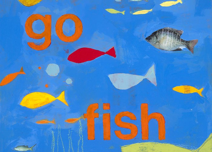 Fish Painting Greeting Card featuring the painting Go Fish by Laurie Breen