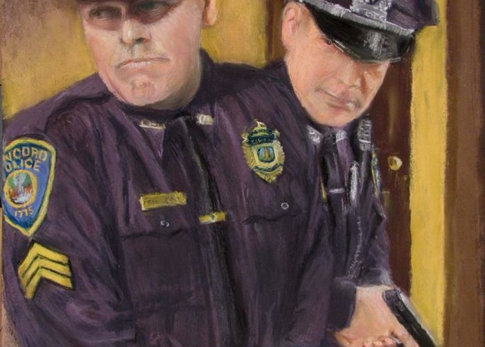 Law Enforcement Greeting Card featuring the painting Go On Three...1....2.... by Jack Skinner