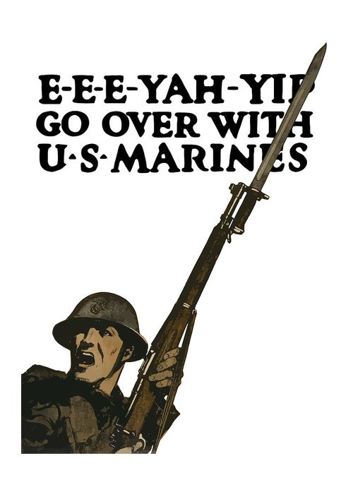 Marine Recruiting Greeting Card featuring the painting Go Over With Us Marines by War Is Hell Store