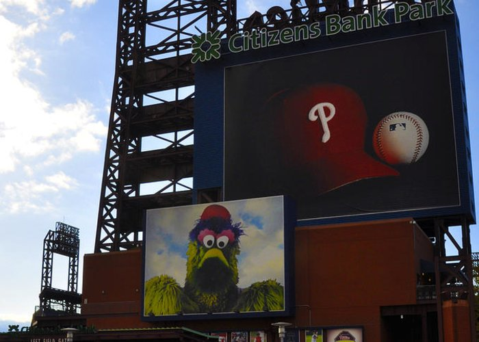 Sports Greeting Card featuring the photograph Go Phillies - Citizens Bank Park - Left Field Gate by Bill Cannon