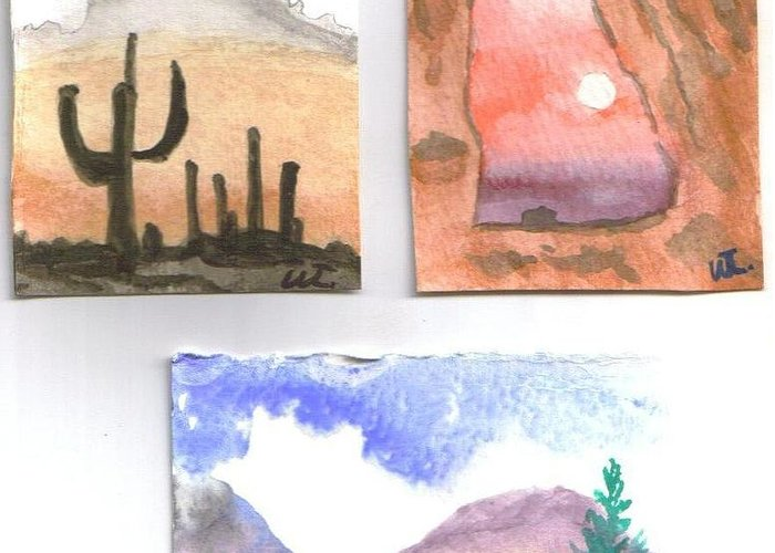 Landscape Western Watercolor Greeting Card featuring the painting Go West by Warren Thompson