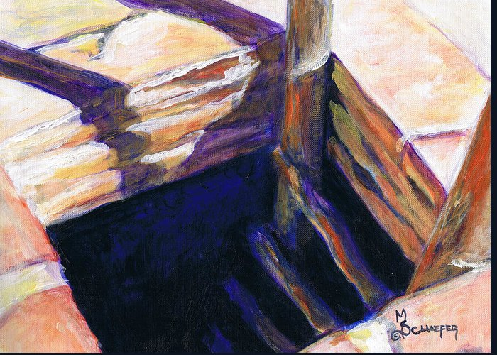 Kiva Greeting Card featuring the painting Go Within Or Go Without by M Schaefer