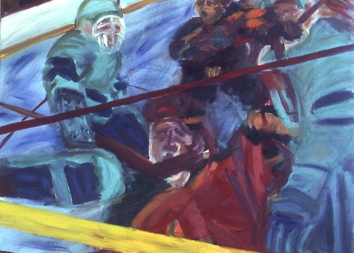 Hockey Greeting Card featuring the painting Goal by Ken Yackel