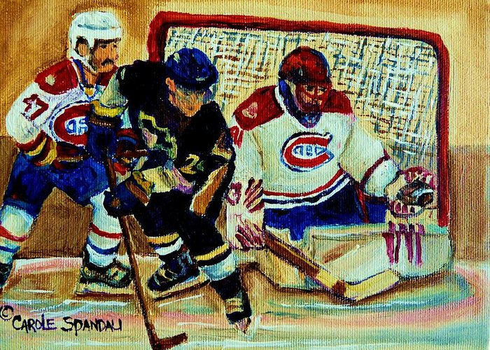 Goalie And Hockey Art Greeting Card featuring the painting Goalie And Hockey Art by Carole Spandau