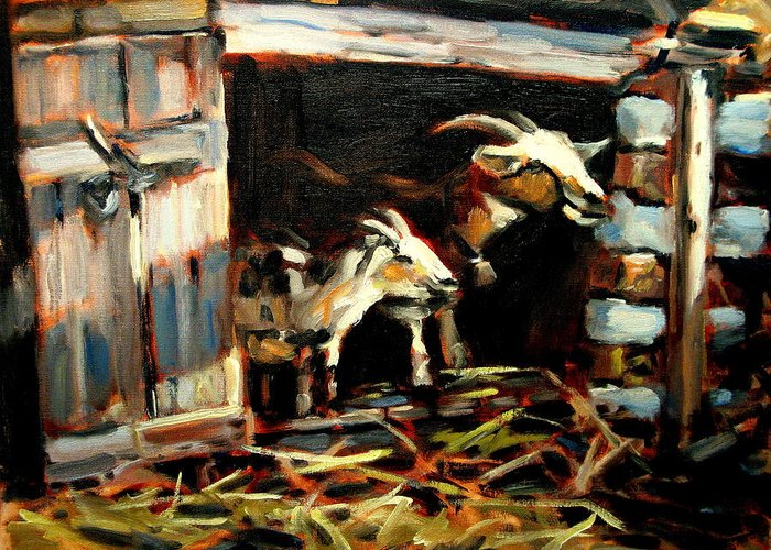 Goat Paintings Greeting Card featuring the painting Goat Shed by Brian Simons