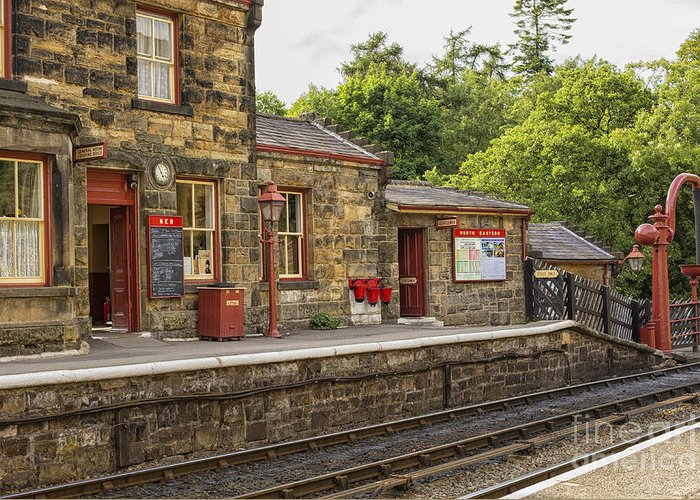 Air Greeting Card featuring the photograph Goathland Railway Station, Train Station From Harry Potter by Patricia Hofmeester