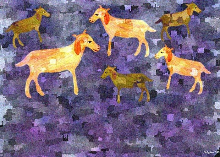 Goats Goat Field Pasture Shepherd Grass Nature Landscape Mosaic Design Wandering Animal Animals Greeting Card featuring the digital art Goats In The Field by Sher Magins
