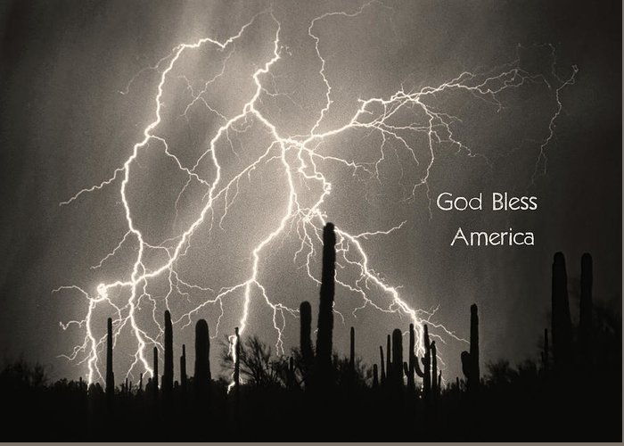 God Greeting Card featuring the photograph God Bless America Bw Lightning Storm In The Usa Desert by James BO Insogna