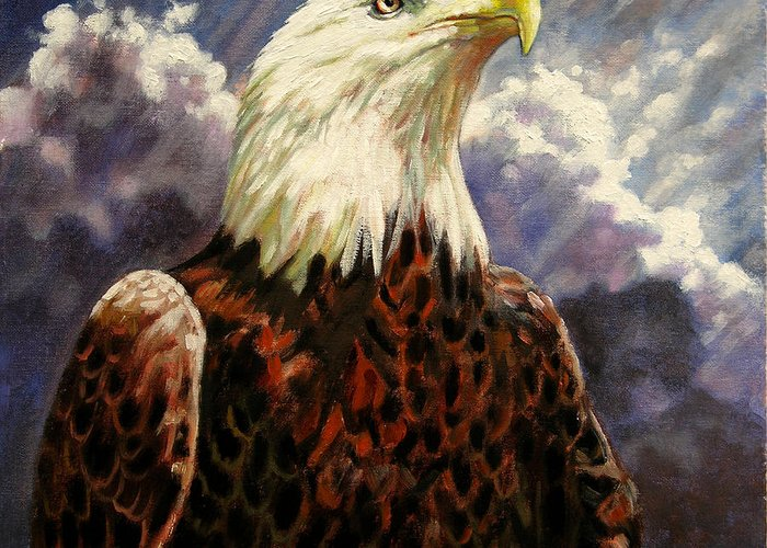 American Bald Eagle Greeting Card featuring the painting God Bless America by John Lautermilch