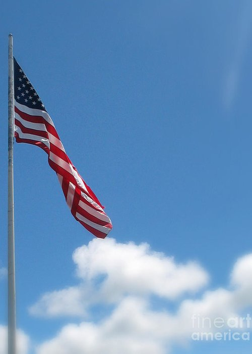 Flag Greeting Card featuring the photograph God Bless America by Mg Blackstock