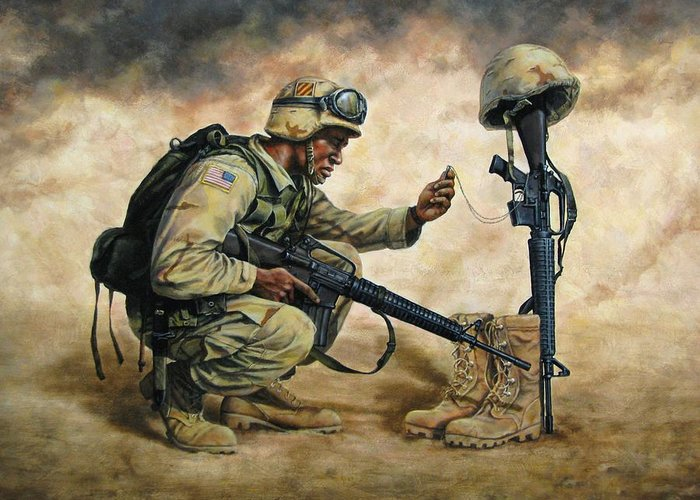 Iraq Greeting Card featuring the painting God Bless Our Troops by Dan Nance