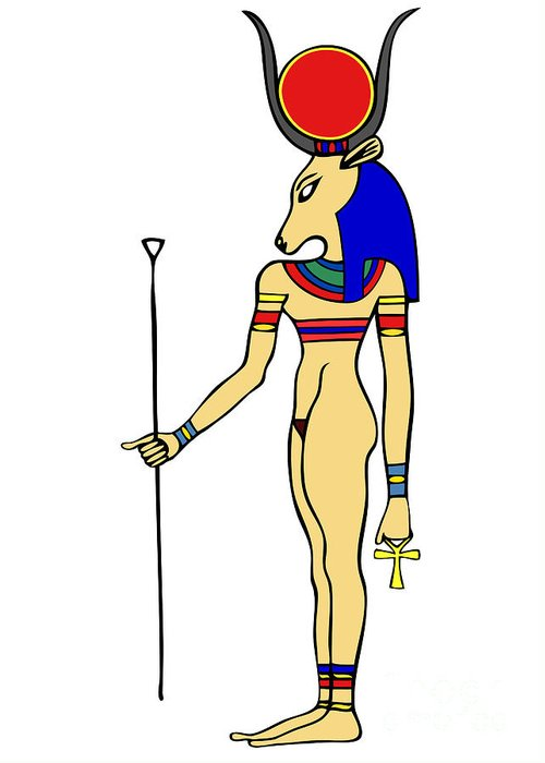 Relief Greeting Card featuring the digital art God Of Ancient Egypt - Hathor by Michal Boubin