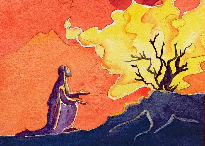 Revelation; Prophet; Fire; Flames; Biblical; Catholic; Catholicism; Praying; Pray; Burning; Kneel; Kneeling; Flame; Bible; Spiritual; Religion; Religious; Bush Greeting Card featuring the painting God Speaks To Moses From The Burning Bush by Elizabeth Wang