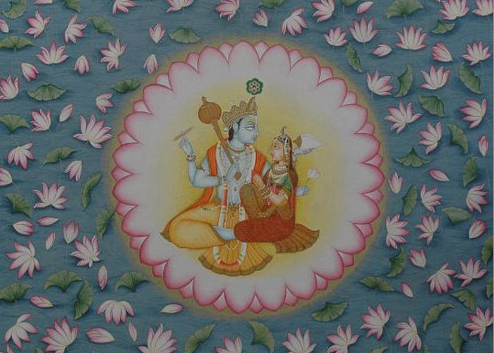 God vishnu laxmi miniature handmade art indian ethnic hindu hindu god vishnu laxmi miniatura tema arte hecho a mano de la acuarela harem popular hecho m4hsunfo
