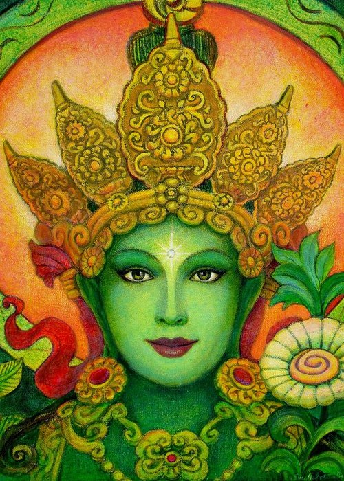 Goddess Greeting Card featuring the painting Goddess Green Tara's Face by Sue Halstenberg