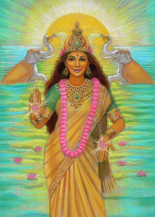 Lakshmi Greeting Card featuring the painting Goddess Lakshmi by Sue Halstenberg