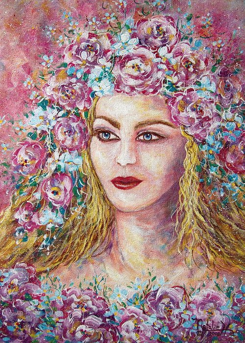Goddess Of Good Fortune Greeting Card featuring the painting Goddess Of Good Fortune by Natalie Holland