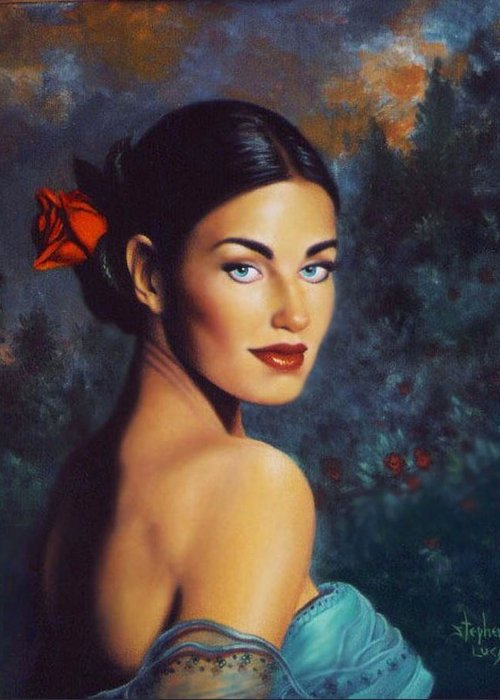 Woman Greeting Card featuring the painting Goddess Of The Summer Rose by Stephen Lucas