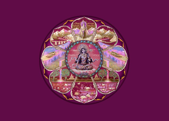 Tara Greeting Card Featuring The Painting Goddess Mandala By Svahha Devi