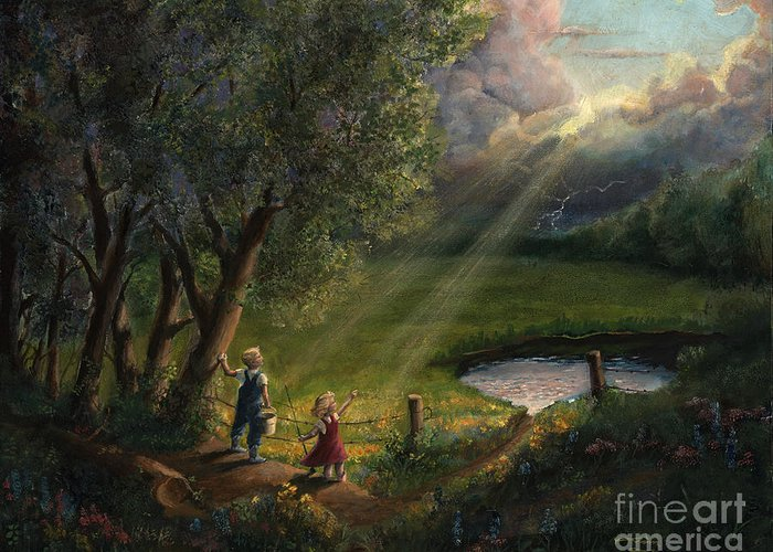Landscape Greeting Card featuring the painting Gods Light by Timothy Tron