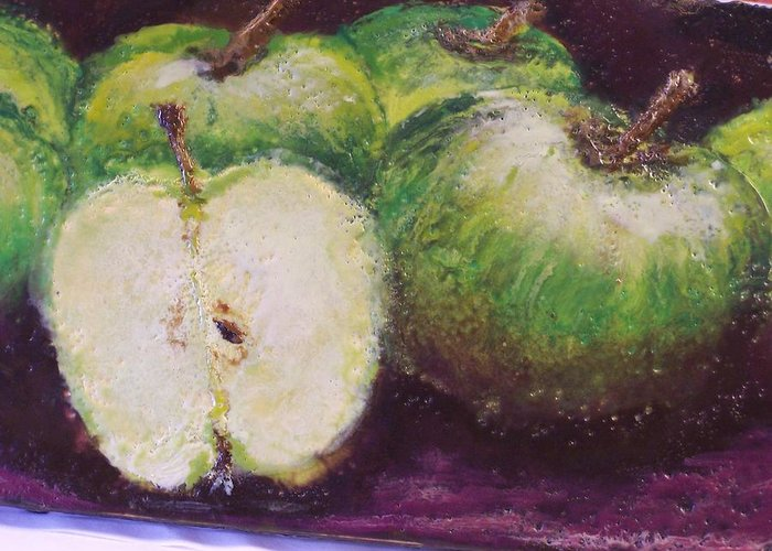 Still Life Greeting Card featuring the painting Gods Little Green Apples by Karla Phlypo-Price
