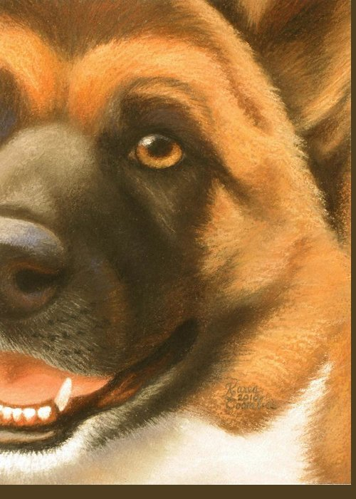 Dog Greeting Card featuring the pastel Goggie Akita by Karen Coombes