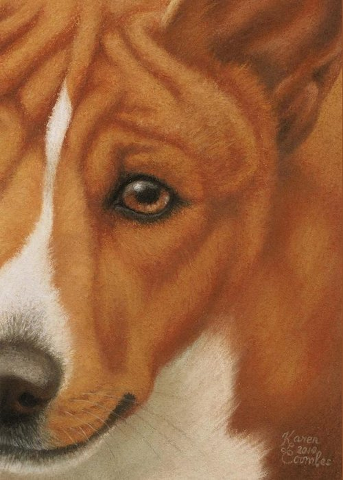Dog Greeting Card featuring the pastel Goggie Basenji by Karen Coombes