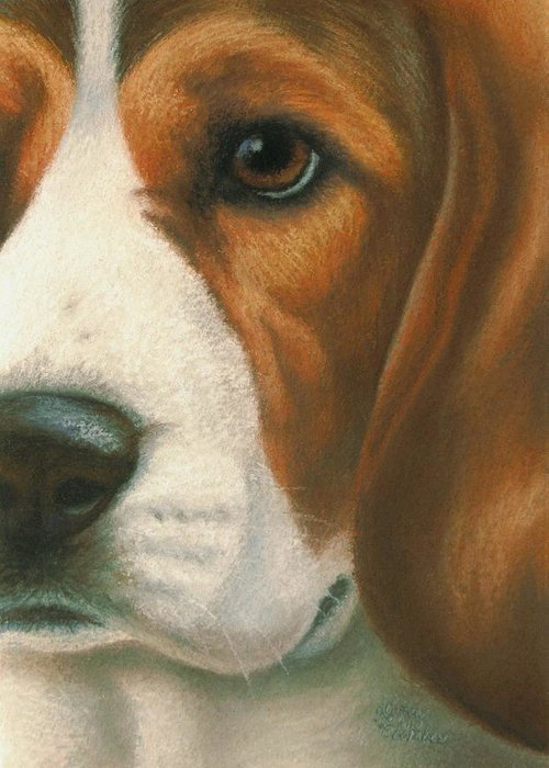 Dog Greeting Card featuring the pastel Goggie Beagle by Karen Coombes