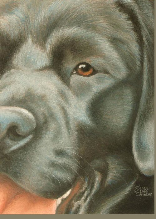 Dog Greeting Card featuring the pastel Goggie Black Lab by Karen Coombes