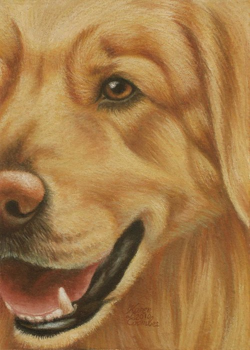 Dog Greeting Card featuring the pastel Goggie Golden by Karen Coombes