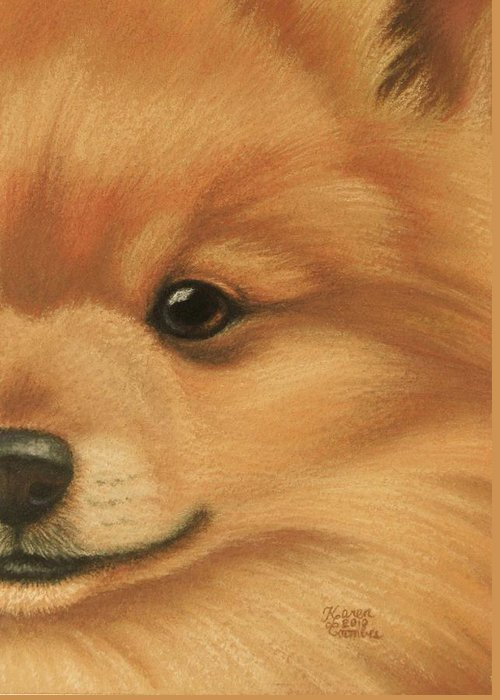 Dog Greeting Card featuring the pastel Goggie Pomeranian by Karen Coombes