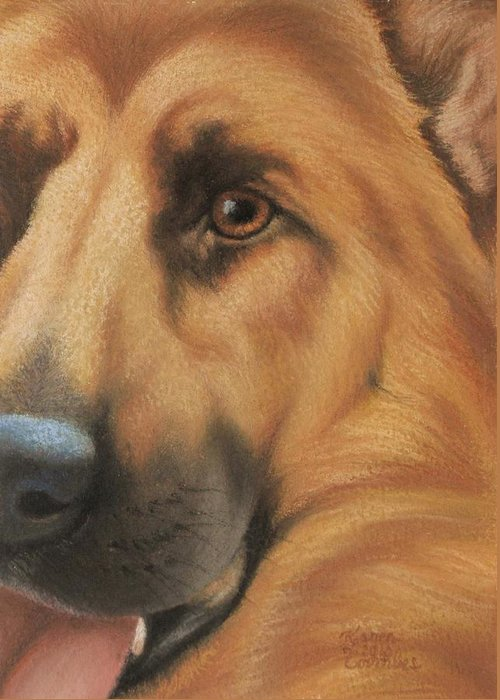 Dog Greeting Card featuring the pastel Goggie Shepherd by Karen Coombes