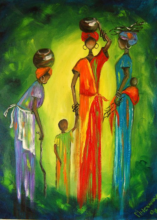 Women Greeting Card featuring the painting Gogo And Daughters by Marietjie Henning