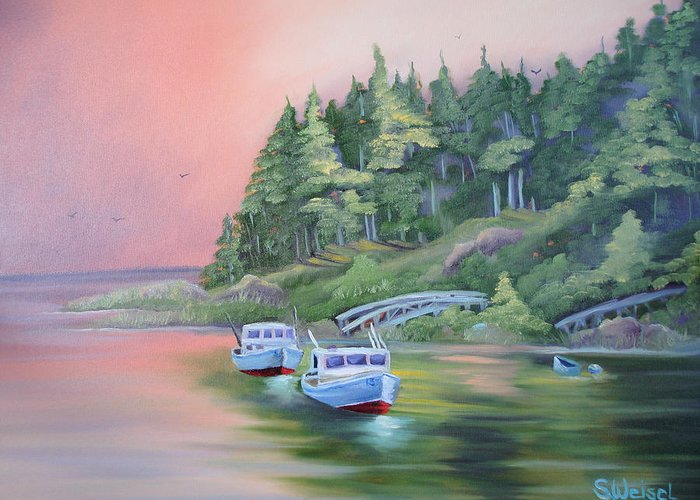 Boat Fish Pond Lake Ocean Sea Tree Bridge Landscape Water Scape Dingy Orange Purple Red Blue Cream Greeting Card featuring the painting Goin Fishin by Sherry Winkler