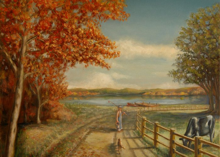 Boy Greeting Card featuring the painting Going Fishing by Lance Anderson