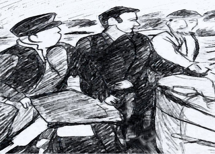 Saiors Greeting Card featuring the drawing Going Fishing by Monica Engeler