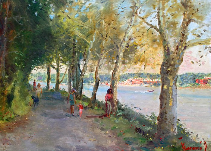 Strolling Greeting Card featuring the painting Going For A Stroll by Ylli Haruni