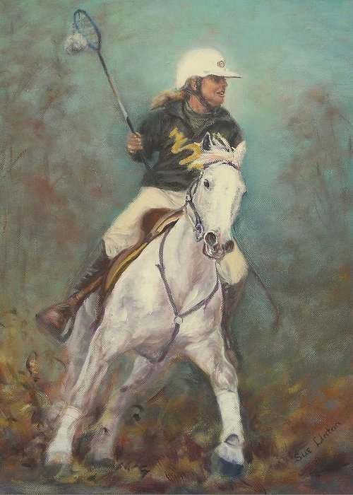 Australian Polocrosse Player On Her Stockhorse Greeting Card featuring the painting Going For The Goal by Sue Linton